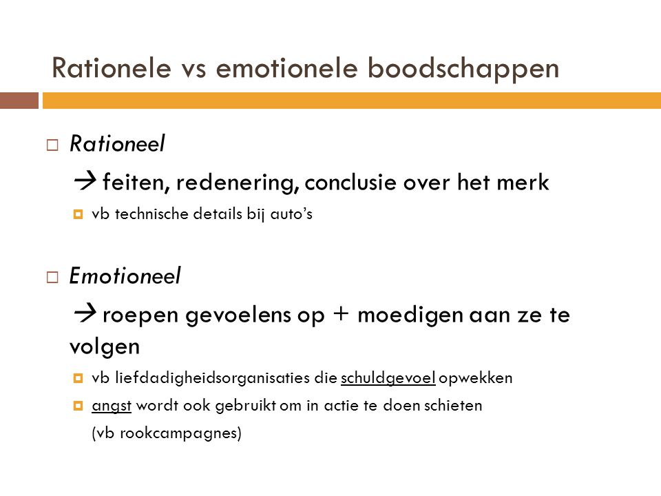 Rationele vs emotionele boodschappen