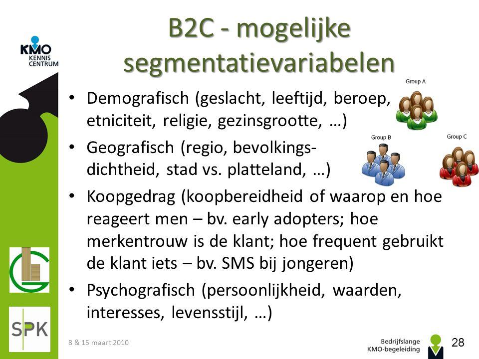 B2C - mogelijke segmentatievariabelen