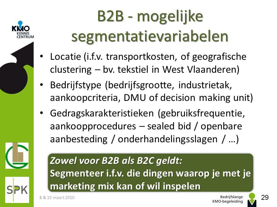 B2B - mogelijke segmentatievariabelen