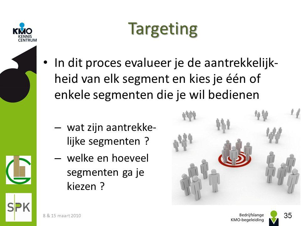 Targeting In dit proces evalueer je de aantrekkelijk-heid van elk segment en kies je één of enkele segmenten die je wil bedienen.