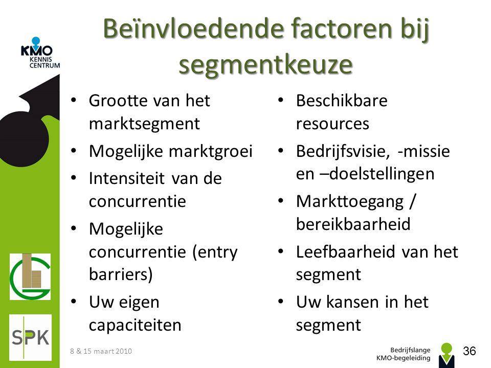 Beïnvloedende factoren bij segmentkeuze