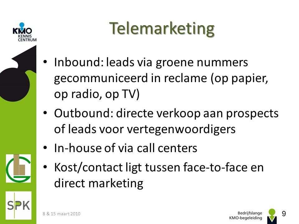 Telemarketing Inbound: leads via groene nummers gecommuniceerd in reclame (op papier, op radio, op TV)