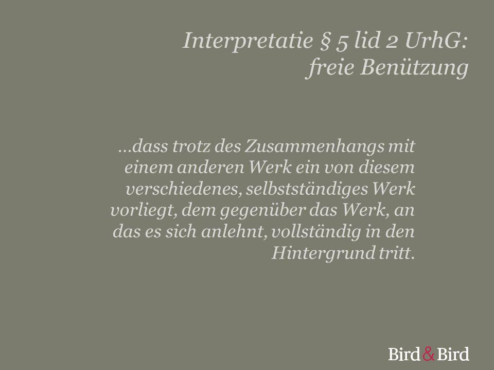 Interpretatie § 5 lid 2 UrhG: freie Benützung