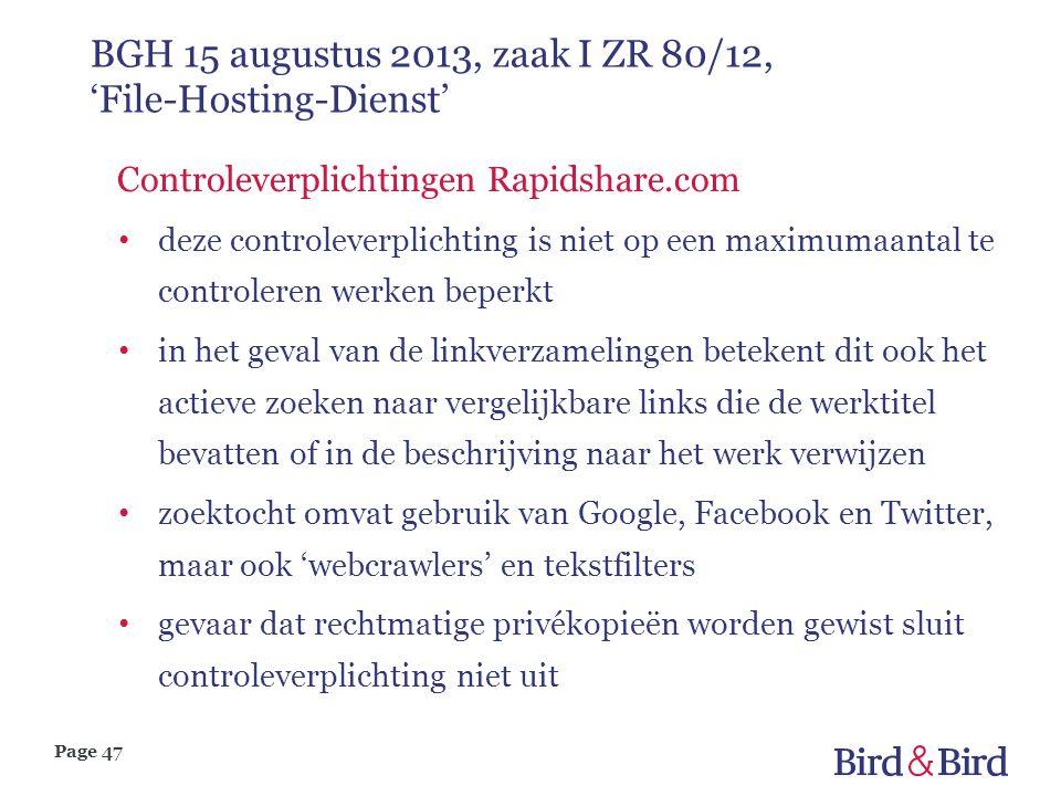 BGH 15 augustus 2013, zaak I ZR 80/12, 'File-Hosting-Dienst'