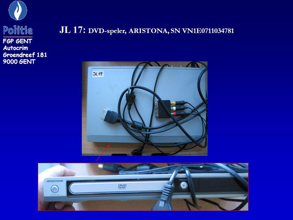 JL 17: DVD-speler, ARISTONA, SN VN1E0711034781