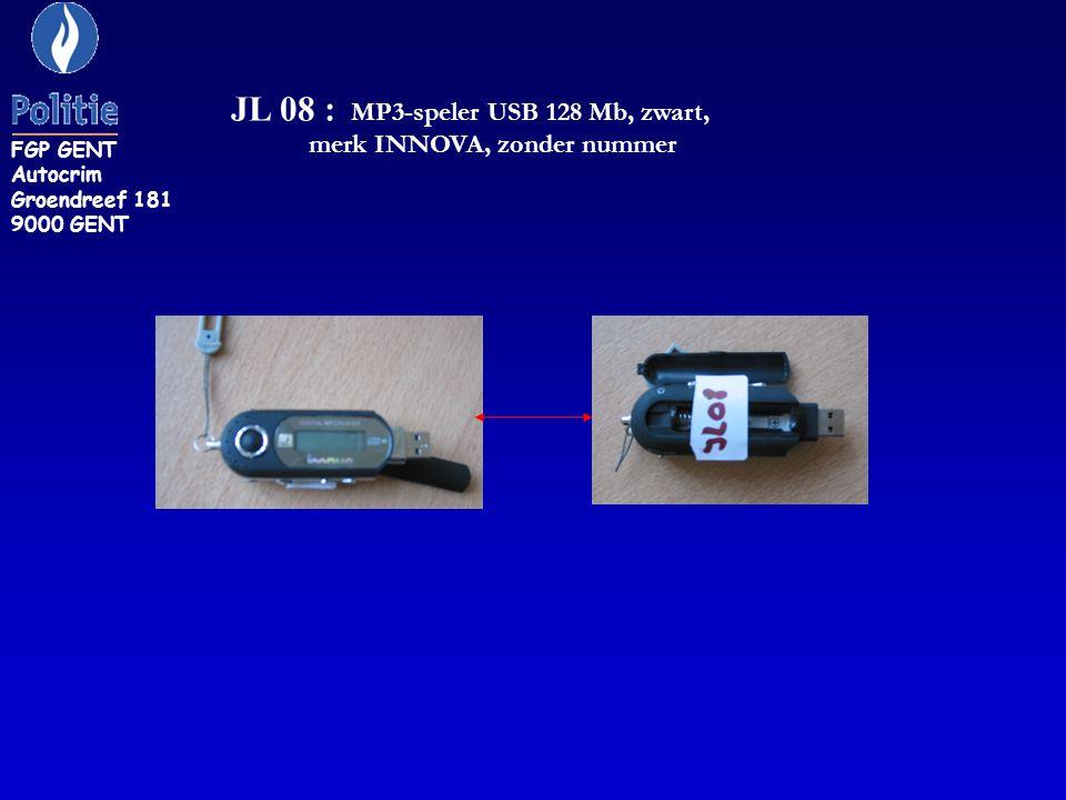 JL 08 : MP3-speler USB 128 Mb, zwart, merk INNOVA, zonder nummer