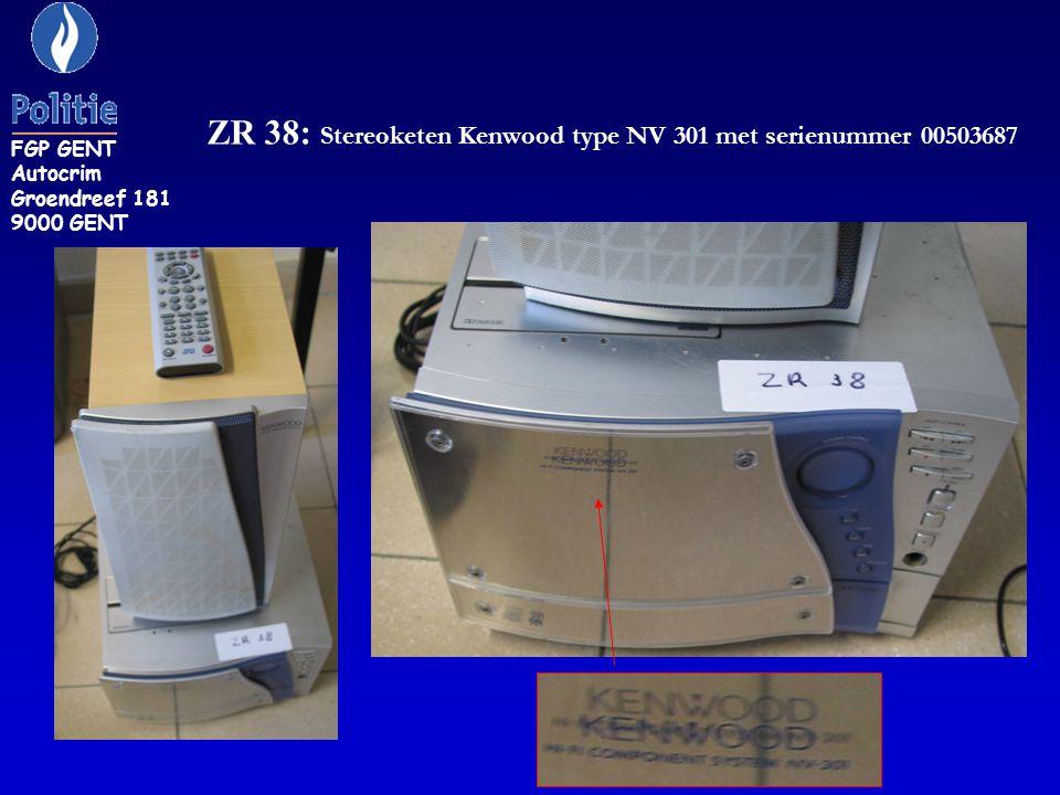 ZR 38: Stereoketen Kenwood type NV 301 met serienummer 00503687