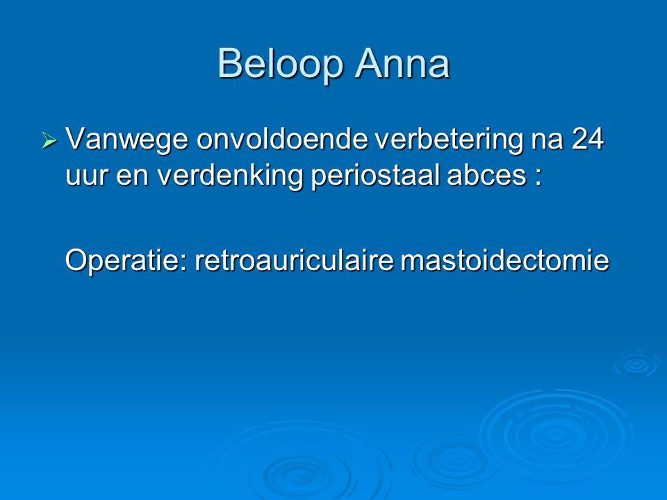 Beloop Anna Vanwege onvoldoende verbetering na 24 uur en verdenking periostaal abces : Operatie: retroauriculaire mastoidectomie.