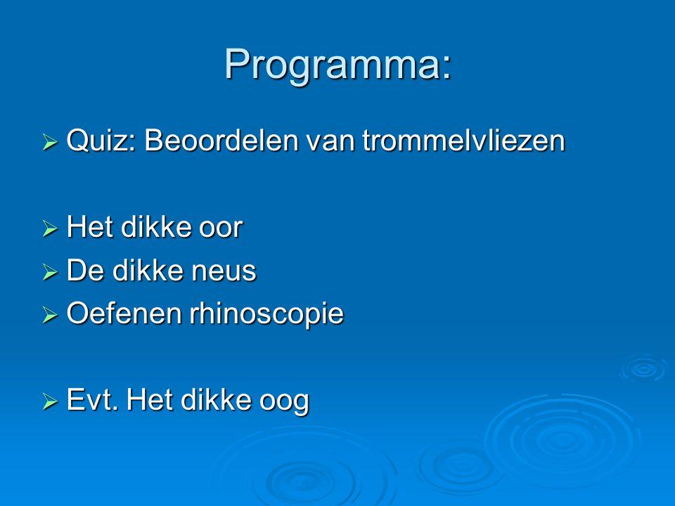 Programma: Quiz: Beoordelen van trommelvliezen Het dikke oor