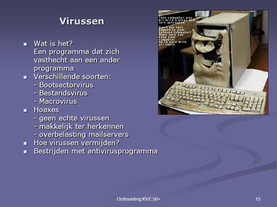 Virussen Wat is het Een programma dat zich vasthecht aan een ander