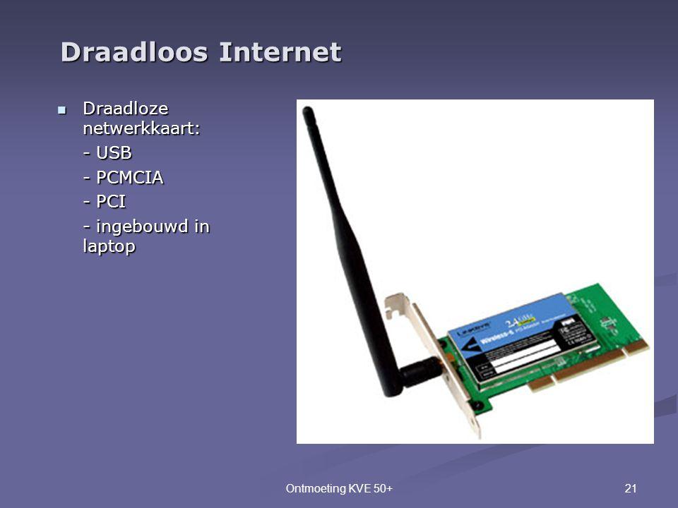 Draadloos Internet Draadloze netwerkkaart: - USB - PCMCIA - PCI