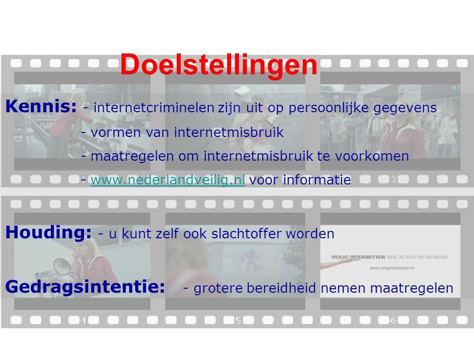 Doelstellingen Kennis: - internetcriminelen zijn uit op persoonlijke gegevens. - vormen van internetmisbruik.