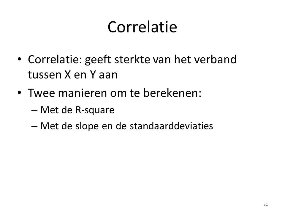 Correlatie Correlatie: geeft sterkte van het verband tussen X en Y aan