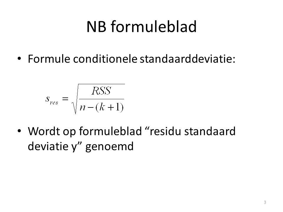 NB formuleblad Formule conditionele standaarddeviatie: