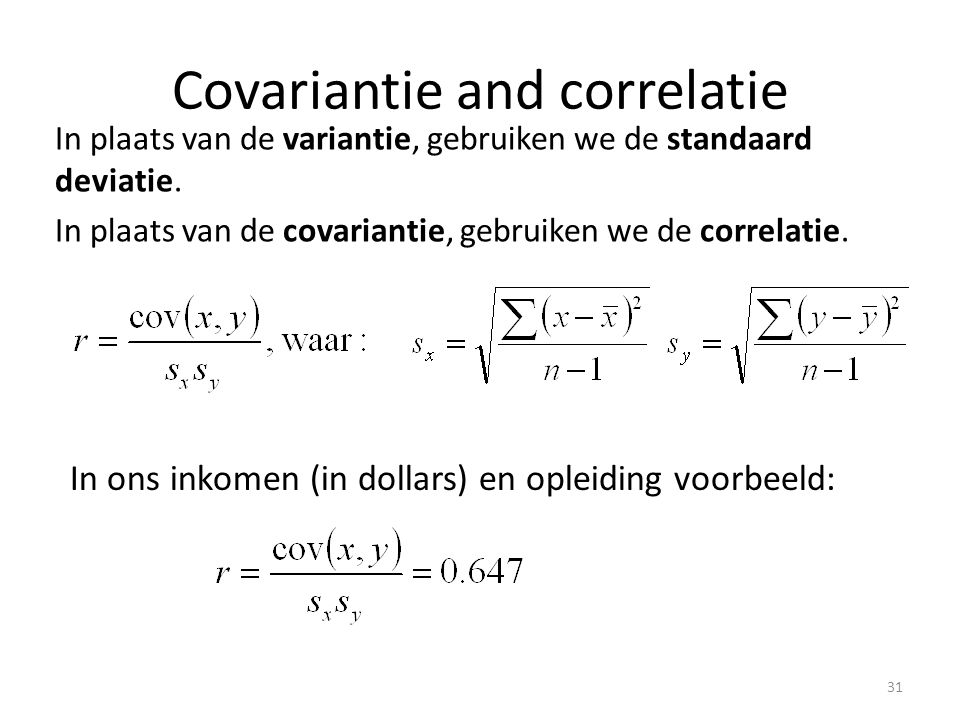 Covariantie and correlatie