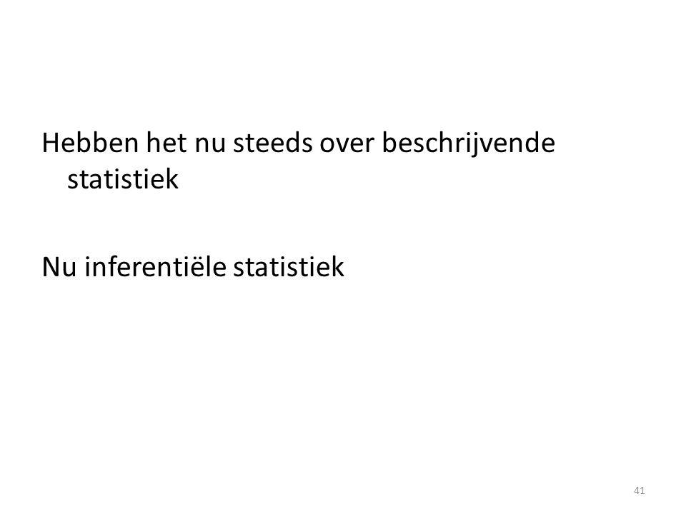 Hebben het nu steeds over beschrijvende statistiek Nu inferentiële statistiek