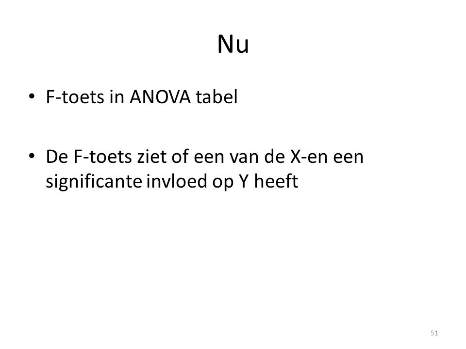 Nu F-toets in ANOVA tabel