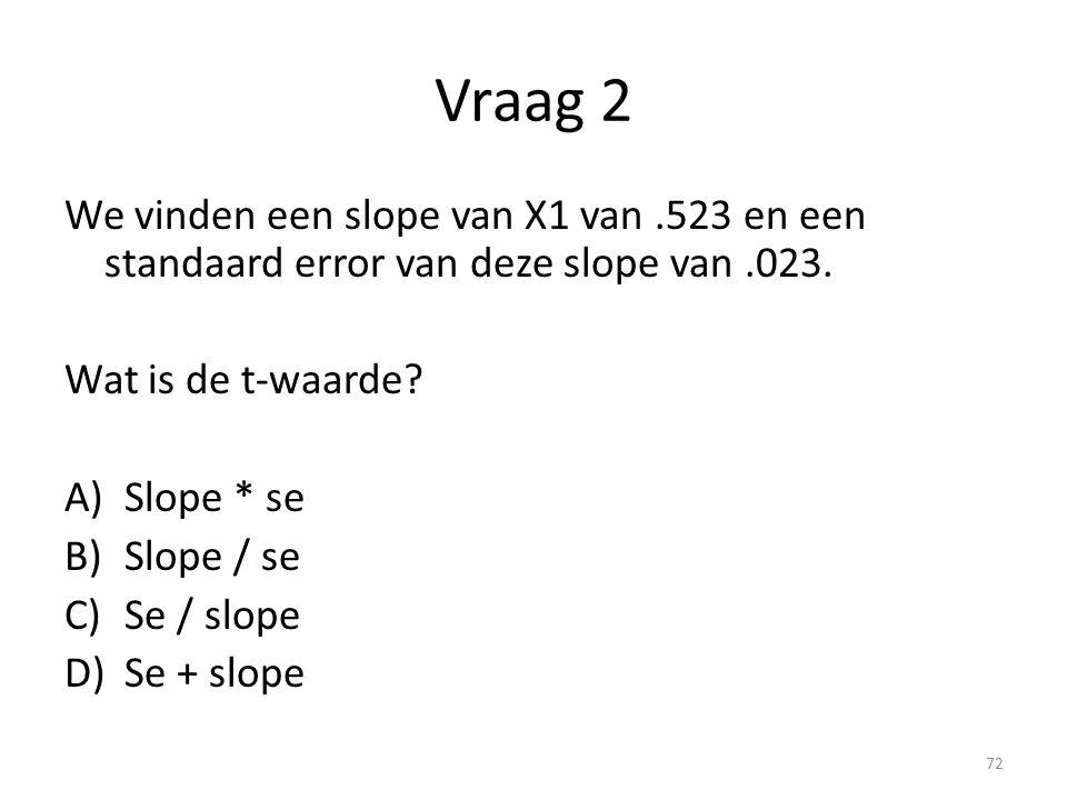 Vraag 2 We vinden een slope van X1 van .523 en een standaard error van deze slope van .023. Wat is de t-waarde