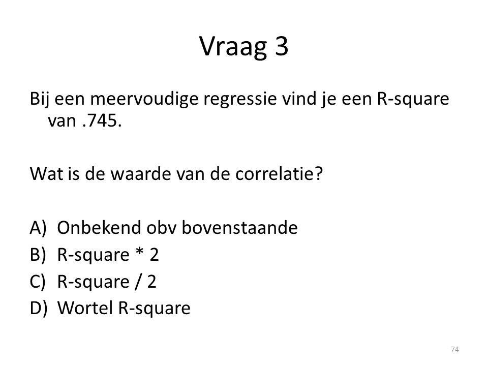 Vraag 3 Bij een meervoudige regressie vind je een R-square van .745.