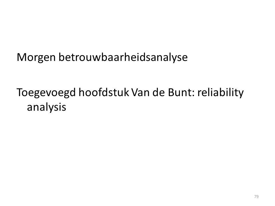 Morgen betrouwbaarheidsanalyse Toegevoegd hoofdstuk Van de Bunt: reliability analysis