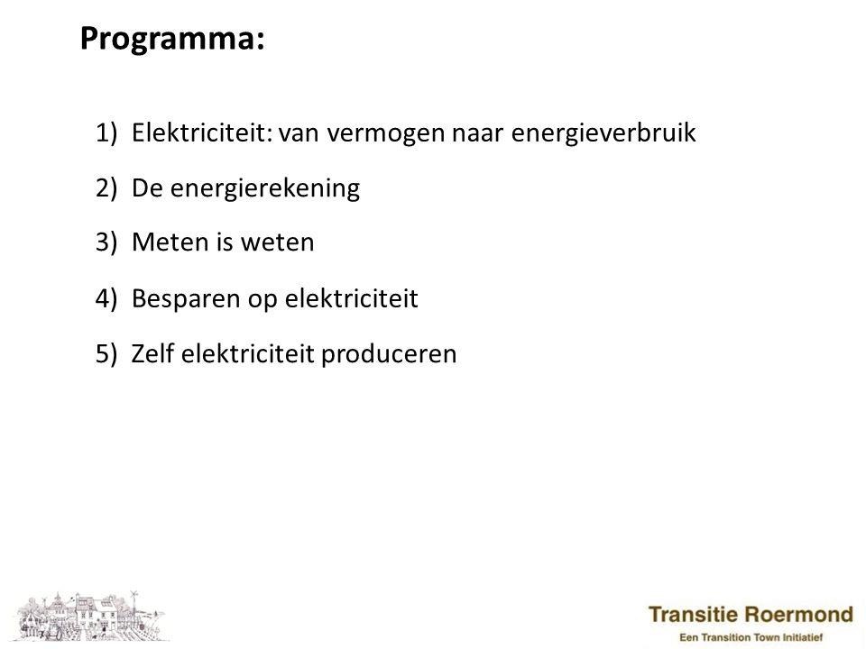 Programma: 1) Elektriciteit: van vermogen naar energieverbruik