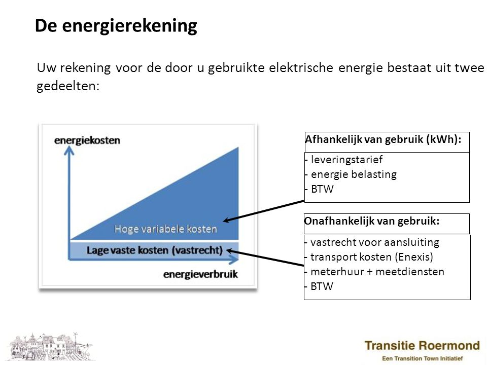 De energierekening Uw rekening voor de door u gebruikte elektrische energie bestaat uit twee gedeelten: