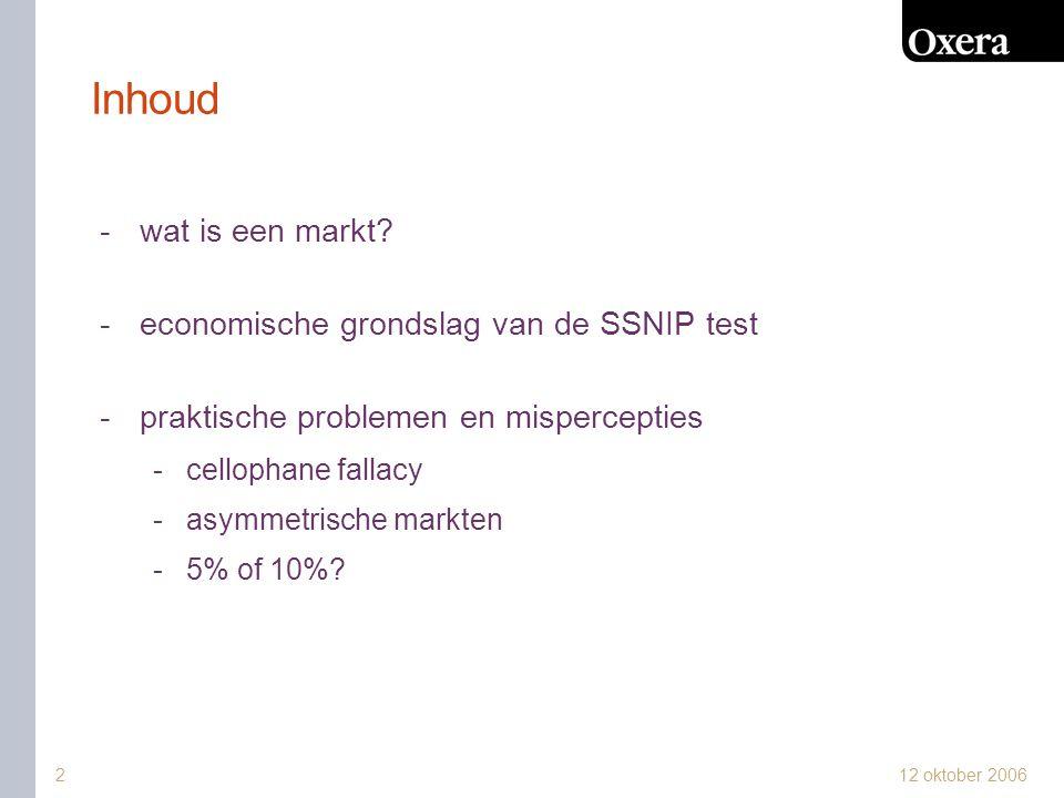 Inhoud wat is een markt economische grondslag van de SSNIP test