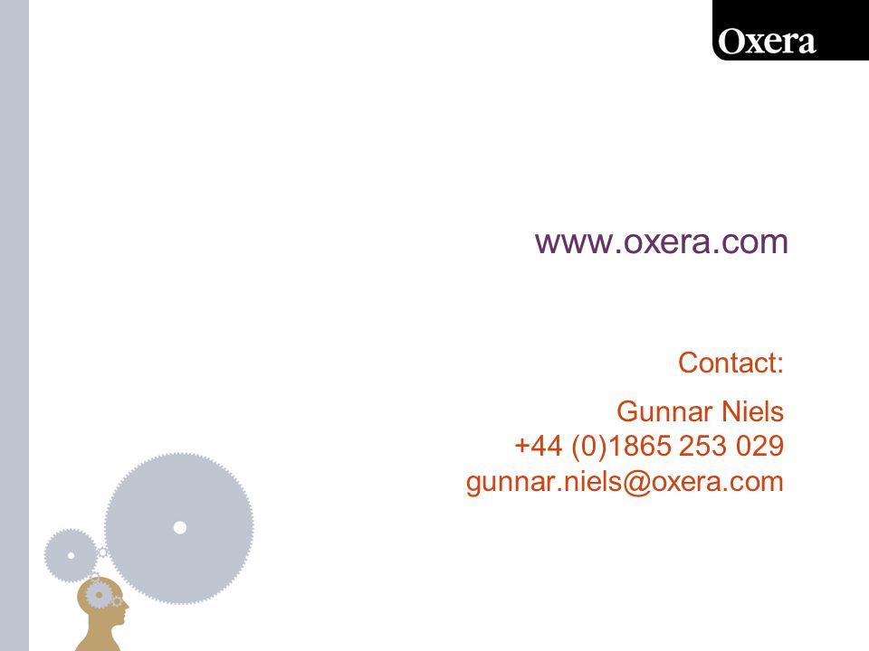 Contact: Gunnar Niels +44 (0)1865 253 029 gunnar.niels@oxera.com