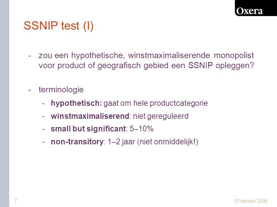 SSNIP test (I) zou een hypothetische, winstmaximaliserende monopolist voor product of geografisch gebied een SSNIP opleggen