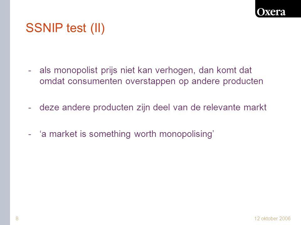 SSNIP test (II) als monopolist prijs niet kan verhogen, dan komt dat omdat consumenten overstappen op andere producten.