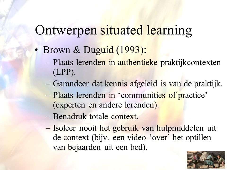 Ontwerpen situated learning