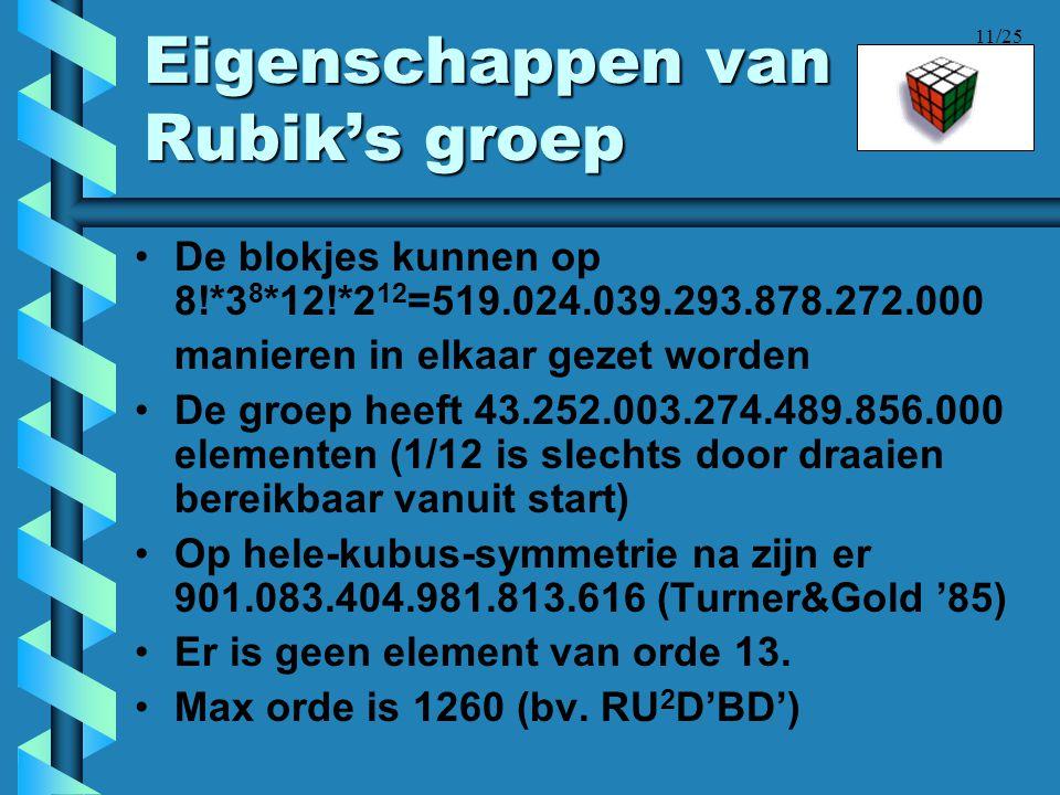 Eigenschappen van Rubik's groep