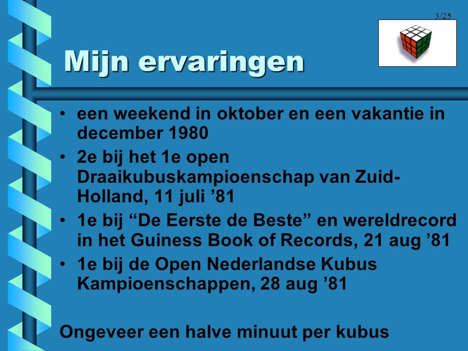 Mijn ervaringen een weekend in oktober en een vakantie in december 1980. 2e bij het 1e open Draaikubuskampioenschap van Zuid-Holland, 11 juli '81.