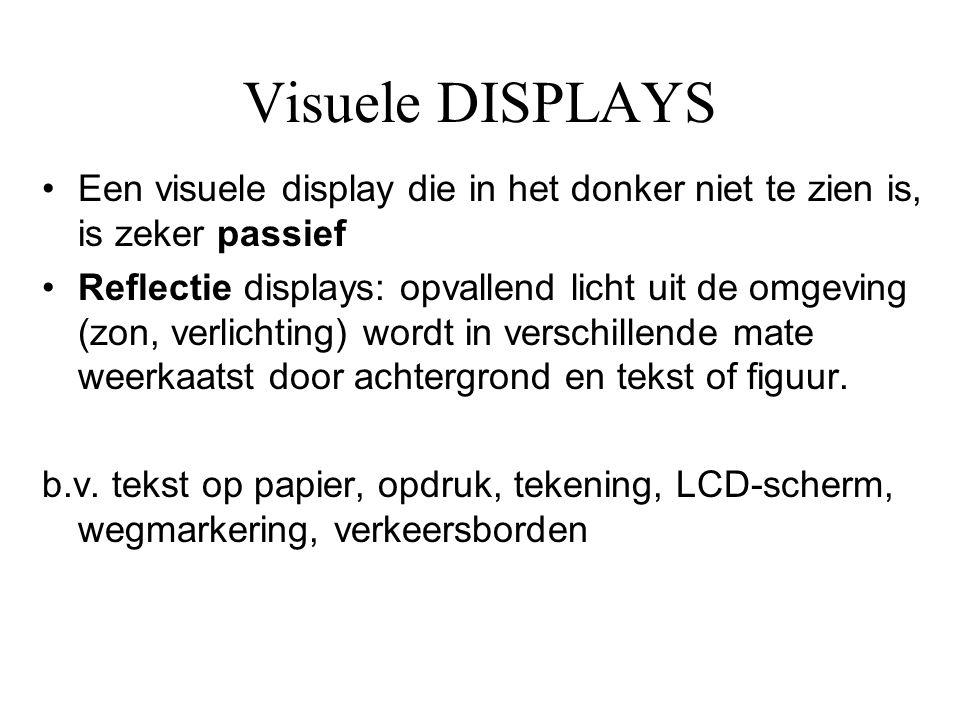 Visuele DISPLAYS Een visuele display die in het donker niet te zien is, is zeker passief.