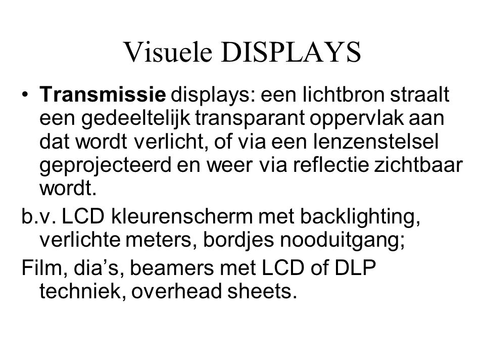 Visuele DISPLAYS