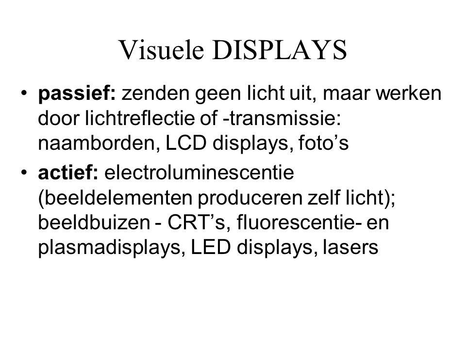Visuele DISPLAYS passief: zenden geen licht uit, maar werken door lichtreflectie of -transmissie: naamborden, LCD displays, foto's.