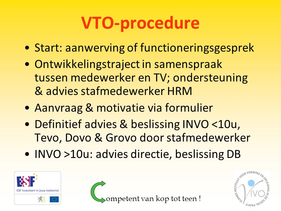VTO-procedure Start: aanwerving of functioneringsgesprek