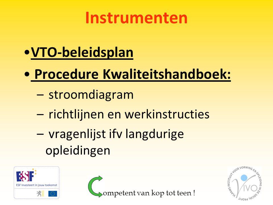 Instrumenten VTO-beleidsplan Procedure Kwaliteitshandboek: