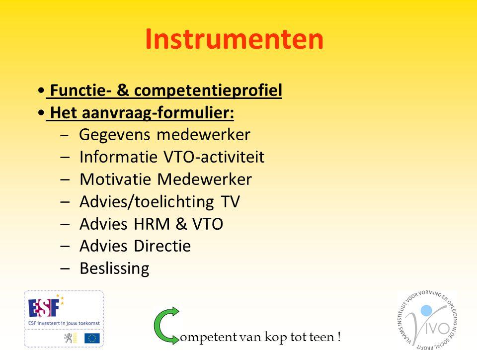 Instrumenten Functie- & competentieprofiel Het aanvraag-formulier: