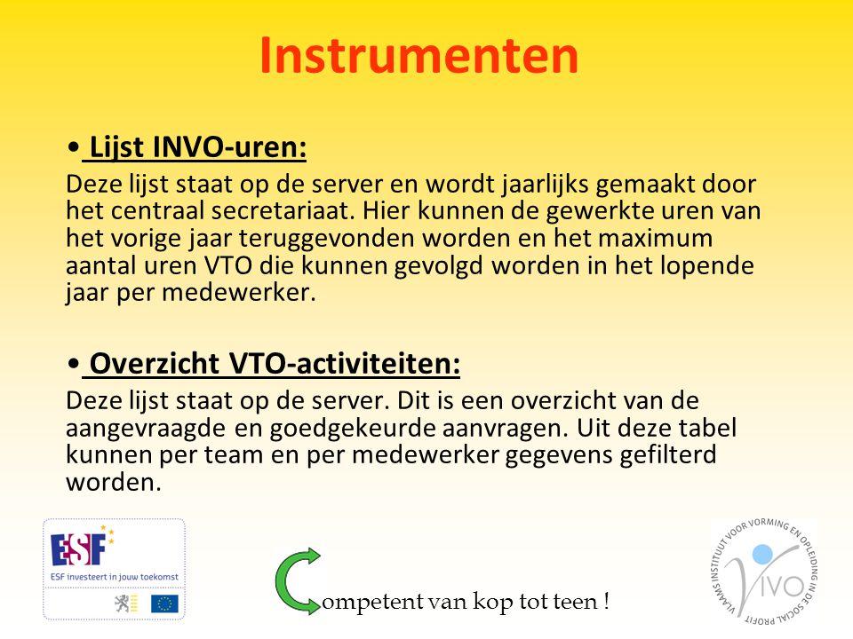 Instrumenten Lijst INVO-uren: Overzicht VTO-activiteiten:
