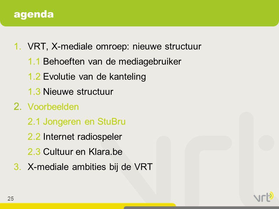 agenda 1. VRT, X-mediale omroep: nieuwe structuur