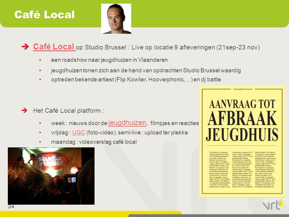 Café Local Café Local op Studio Brussel : Live op locatie 9 afleveringen (21sep-23 nov) een roadshow naar jeugdhuizen in Vlaanderen.