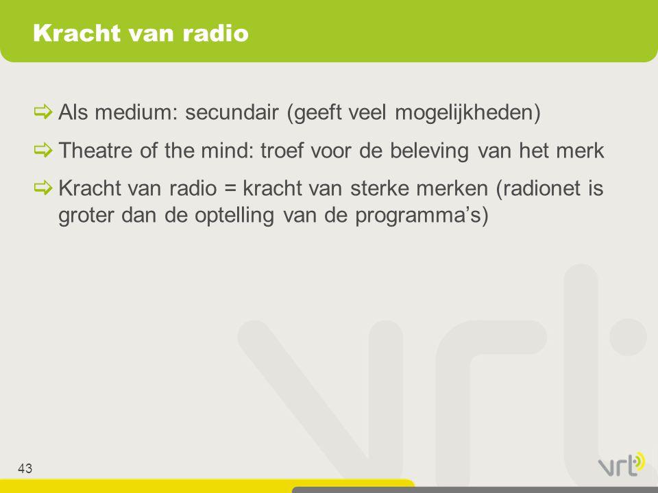 Kracht van radio Als medium: secundair (geeft veel mogelijkheden)