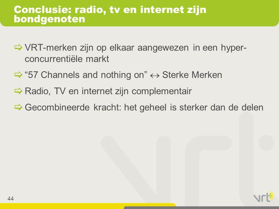 Conclusie: radio, tv en internet zijn bondgenoten