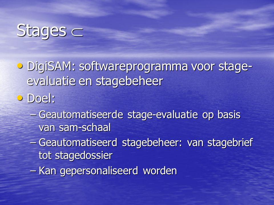 Stages  DigiSAM: softwareprogramma voor stage-evaluatie en stagebeheer. Doel: Geautomatiseerde stage-evaluatie op basis van sam-schaal.