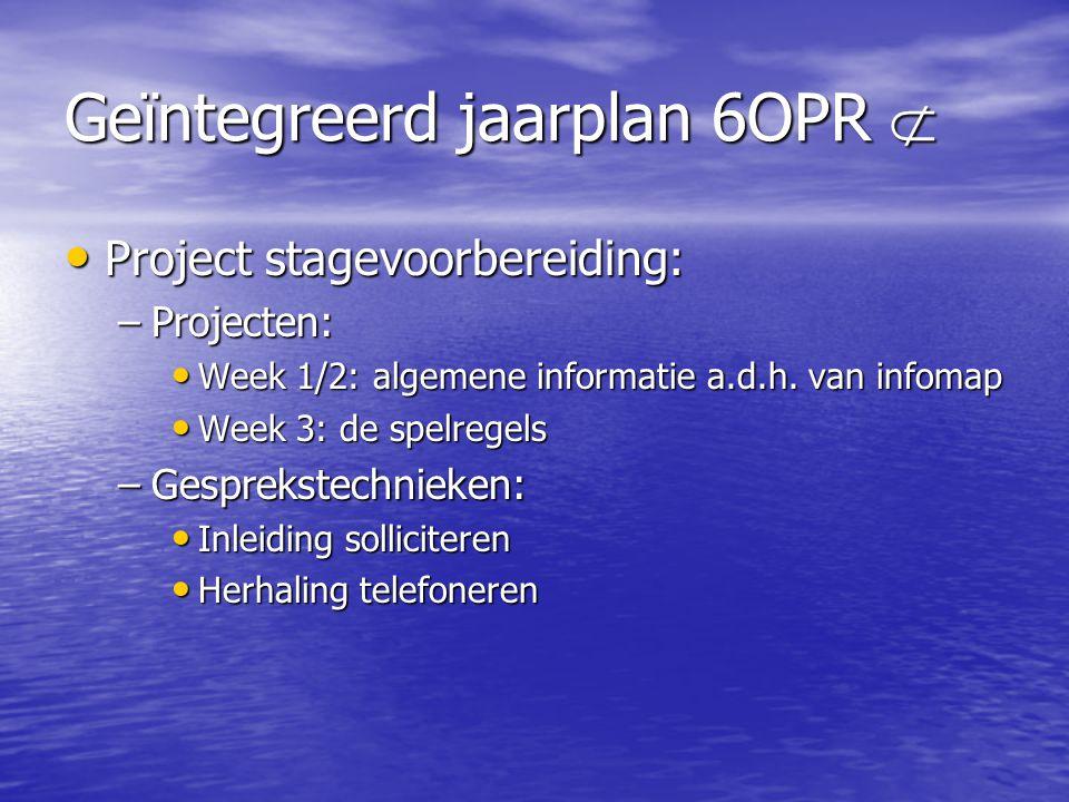 Geïntegreerd jaarplan 6OPR 