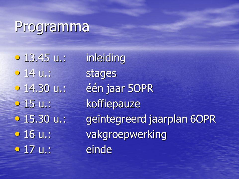Programma 13.45 u.: inleiding 14 u.: stages 14.30 u.: één jaar 5OPR
