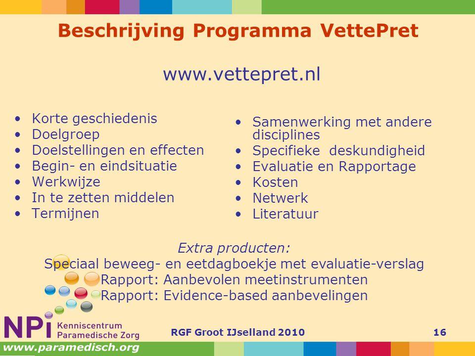 Beschrijving Programma VettePret