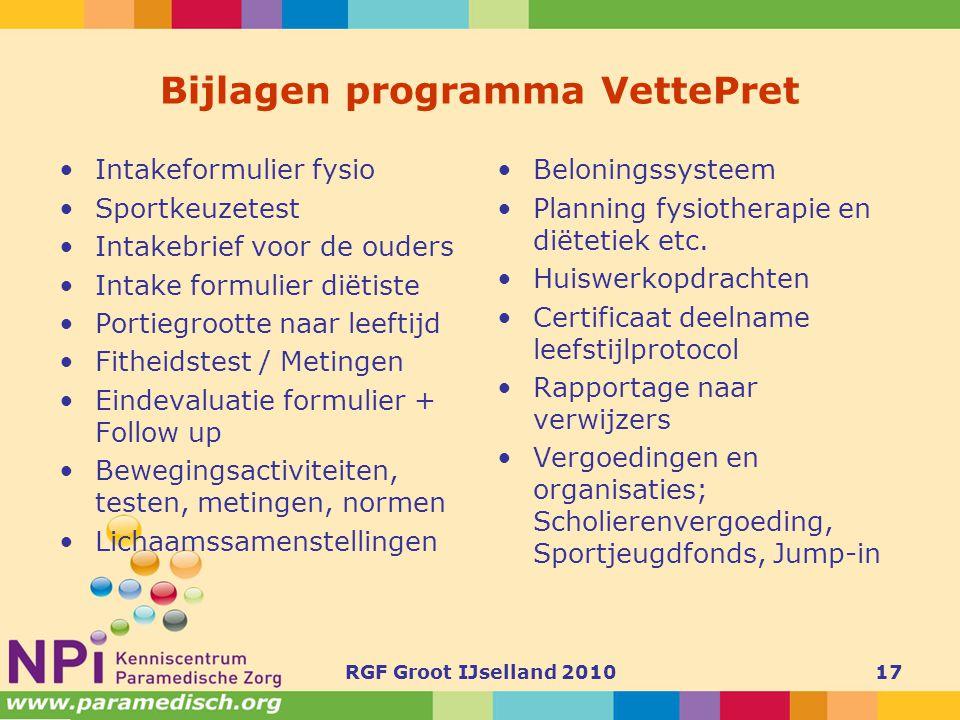 Bijlagen programma VettePret