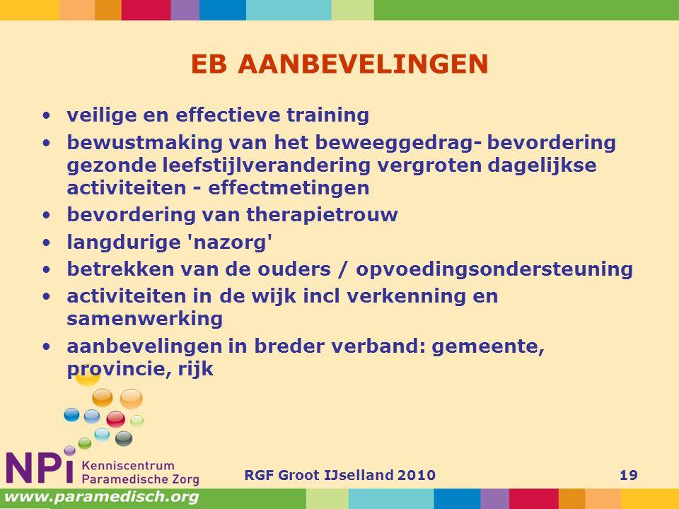EB AANBEVELINGEN veilige en effectieve training
